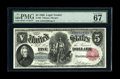 """Large Size:Legal Tender Notes, Fr. 80 $5 1880 Legal Tender PMG Superb Gem Unc 67 EPQ. The """"Exceptional Paper Quality"""" comment combined with the 67 grade te..."""