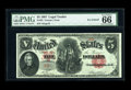 Large Size:Legal Tender Notes, Fr. 83 $5 1907 Legal Tender PMG Gem Uncirculated 66 EPQ. Thisex-Grinnell piece carries serial number A6. The aesthetics and...