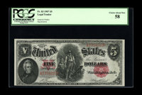 Fr. 83 $5 1907 Legal Tender PCGS Choice About New 58. We are unaware as to why this bright, originally embossed note did...