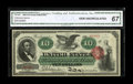 Large Size:Legal Tender Notes, Fr. 95b $10 1863 Legal Tender CGA Gem Uncirculated 67. This boldlyinked New Series $10 is bright with nice margins. It is a...