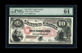 Large Size:Legal Tender Notes, Fr. 99 $10 1878 Legal Tender PMG Choice Uncirculated 64 EPQ.Pleasingly original paper quality is clearly visible through th...