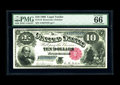 Large Size:Legal Tender Notes, Fr. 110 $10 1880 Legal Tender PMG Gem Uncirculated 66 EPQ. Originalpaper waves are visible through the holder as is the emb...