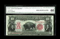 Large Size:Legal Tender Notes, Fr. 120 $10 1901 Legal Tender CGA Gem Uncirculated 66. A bright,gorgeous note with a bold red overprint and stark black fac...
