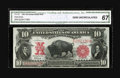 Large Size:Legal Tender Notes, Fr. 121 $10 1901 Mule Legal Tender CGA Gem Uncirculated 67. Themargins are broad for the issue and the overprint is bold. A...