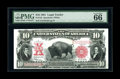 Large Size:Legal Tender Notes, Fr. 122 $10 1901 Legal Tender PMG Gem Uncirculated 66 EPQ. ThisBison would be hard to improve on. It has wide margins, a da...