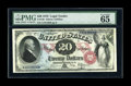 Large Size:Legal Tender Notes, Fr. 129 $20 1878 Legal Tender PMG Gem Uncirculated 65 EPQ. The noteitself is beautifully centered, with a bold red overprin...