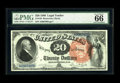Large Size:Legal Tender Notes, Fr. 136 $20 1880 Legal Tender PMG Gem Uncirculated 66 EPQ. A prettyexample of this Large Spiked Red Seal Blue Serial Number...