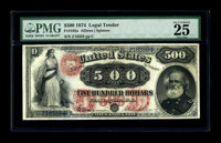 Fr. 185a $500 1874 Legal Tender PMG Very Fine 25. This note was introduced to the numismatic community when it appeared...
