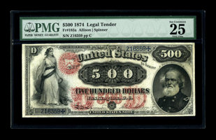 Featured item image of Fr. 185a $500 1874 Legal Tender PMG Very Fine 25. This note was introduced to the numismatic community when it appeared in o...
