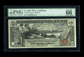 Large Size:Silver Certificates, Fr. 225 $1 1896 Silver Certificate PMG Gem Uncirculated 66 EPQ. This is the much more difficult to find Bruce-Roberts signat...