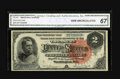 Large Size:Silver Certificates, Fr. 242 $2 1886 Silver Certificate CGA Gem Uncirculated 67. This is a broadly margined and bright Hancock that has been well...