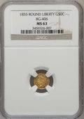 California Fractional Gold, 1855 50C Liberty Round 50 Cents, BG-406, High R.6, MS63 NGC. NGCCensus: (2/2). PCGS Population (1/1). (#10442)...