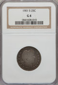 Barber Quarters: , 1901-S 25C Good 4 NGC. NGC Census: (40/61). PCGS Population(120/253). Mintage: 72,664. Numismedia Wsl. Price for problem f...