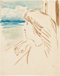 Impressionism & Modernism:post-Impressionism, FROM THE ESTATE OF DR. EDMUND P. PILLSBURY. PIERRE BONNARD (French,1867-1947). Profil de jeune femme devant le mer (Med...