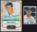 Baseball Cards:Autographs, Mickey Mantle Signed Promotional Cards Lot of 2....