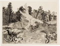 Prints:Contemporary, FROM THE ESTATE OF DR. EDMUND P. PILLSBURY. ANTHONY GROSS (British,1905-1984). Running Tree, 1954. Etching. 9 x 11-3/...