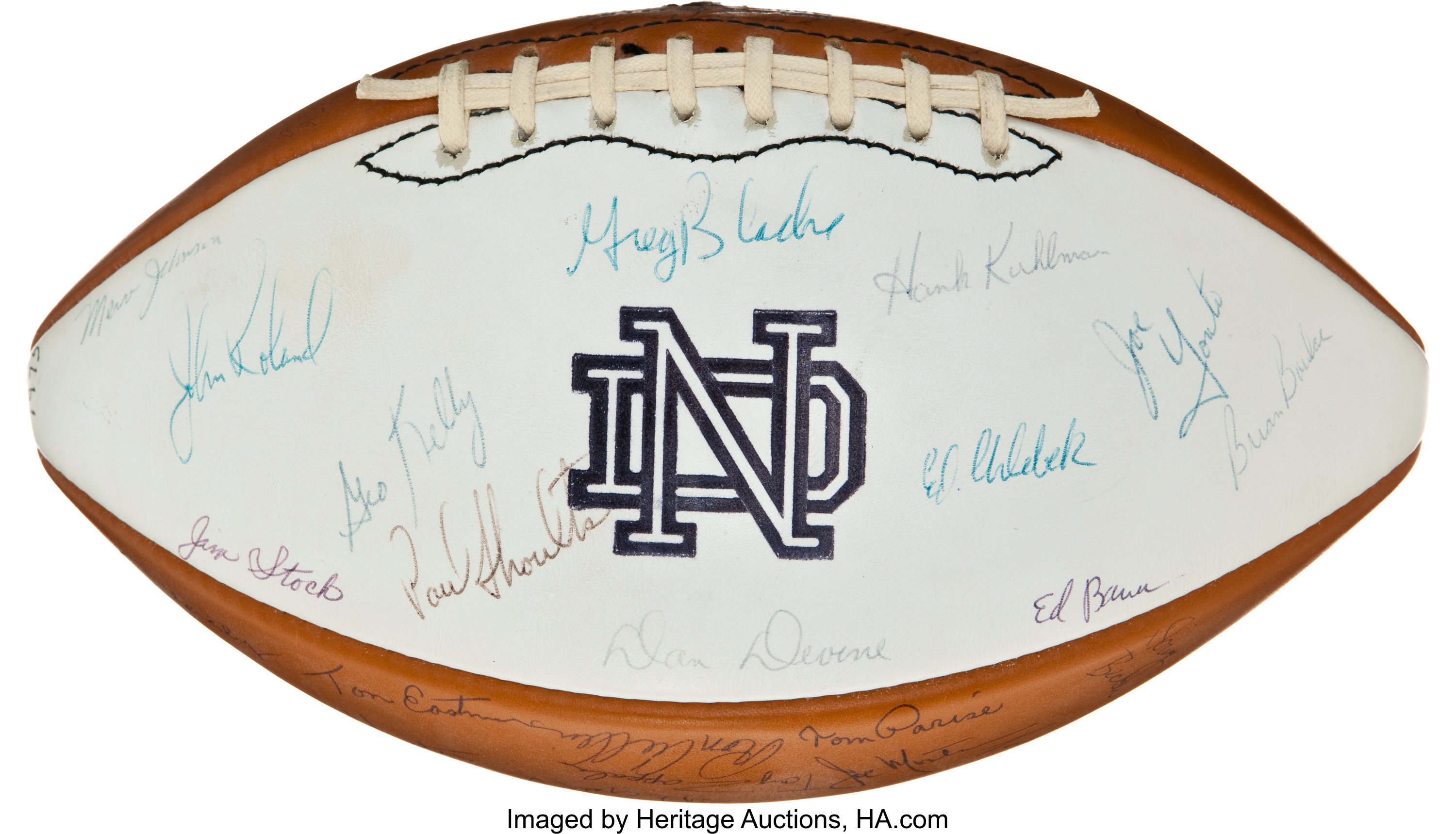1975 Notre Dame Fighting Irish Team Signed Football Football Lot 82057 Heritage Auctions
