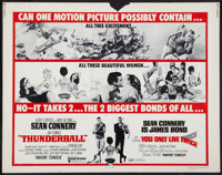 "Thunderball/You Only Live Twice Combo (United Artists, R-1971). Half Sheet (22"" X 28""). James Bond"