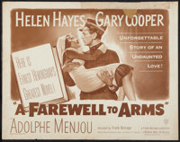 "A Farewell to Arms (Warner Brothers, R-1949). Half Sheet (22"" X 28""). Drama"