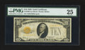 Small Size:Gold Certificates, Fr. 2400 $10 1928 Gold Certificate. PMG Very Fine 25.. ...