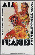 "Movie Posters, Ali vs. Frazier, The ""Thrilla in Manila"" by LeRoy Neiman (Don KingProductions, 1975). Closed Circuit Showing Window Card (1..."