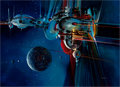 Mainstream Illustration, JOHN CONRAD BERKEY (American, 1932-2008). Spaceships andPlanets. Acrylic and casein on board. 15.75 x 21.5 in.. Signed...