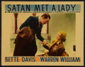 "Movie Posters:Mystery, Satan Met a Lady (Warner Brothers, 1936). Lobby Card (11"" X 14"").Mystery.. ..."