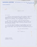 Autographs:Authors, William F. Buckley, Jr. Two Typed Letters Signed, one onNational Review Letterhead. Single page each and dated ...