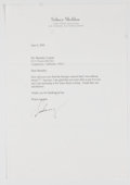Books:Signed Editions, Sidney Sheldon. Typed Letter Signed and on Author's Letterhead. Single page and dated 2002. Letter from Sheldon to Barnaby C...