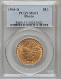 Indian Eagles: , 1908-D $10 Motto MS61 PCGS. PCGS Population (68/292). NGC Census:(152/195). Mintage: 836,500. Numismedia Wsl. Price for pr...