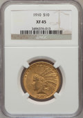 Indian Eagles: , 1910 $10 XF45 NGC. NGC Census: (6/5304). PCGS Population (11/3933).Mintage: 318,500. Numismedia Wsl. Price for problem fre...