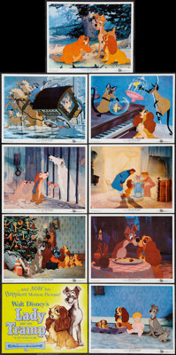 """Lady and the Tramp (Buena Vista, 1955). Color Photo Set of 9 (8"""" X 10""""). Animation. ... (Total: 9 Items)"""