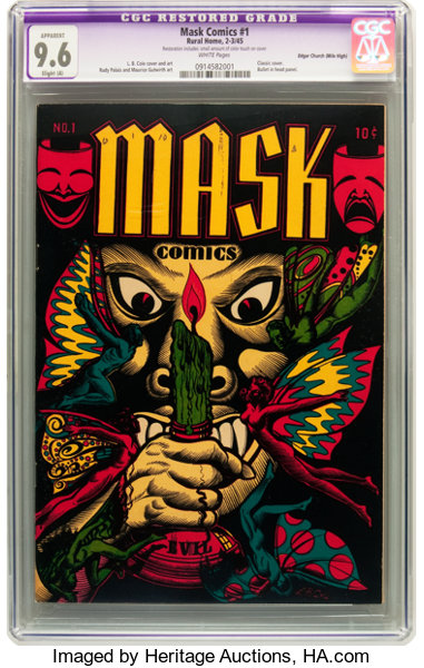 Golden Age (1938-1955):Horror, Mask Comics #1 Mile High pedigree (Rural Home, 1945) CGC ApparentNM+ 9.6 Slight (A) White pages....