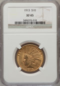 Indian Eagles: , 1913 $10 XF45 NGC. NGC Census: (10/5121). PCGS Population(21/4088). Mintage: 442,071. Numismedia Wsl. Price for problemfr...