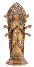 Asian:Other, POLYCHROME AND GILT SANDALWOOD FIGURE OF THE HINDU GODDESS DURGA.circa 1900. 36-1/2 inches high (92.7 cm). ... (Total: 2 Items)