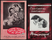 "Humoresque and Other Lot (Warner Brothers, 1946). Pressbooks (2) (16 and 40 Pages, 11"" X 17"" and 12.5"" X..."
