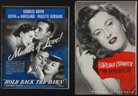 "Hold Back the Dawn and Other Lot (Paramount, 1941). Pressbooks (2) ( 32 and 16 Pages, 12"" X 15"" and 11"" X..."