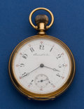 Timepieces:Pocket (post 1900), Hamrick & Son Swiss Heavy 18k Gold 52 mm Pocket Watch. ...