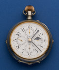 Timepieces:Pocket (post 1900), Swiss Over Size Moon Face Calendar Pocket Watch. ...
