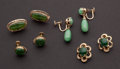 Estate Jewelry:Earrings, Four Pair Of Jade & Gold Earrings. ... (Total: 4 Items)