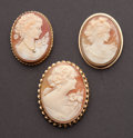 Estate Jewelry:Cameos, Three Vintage Gold Cameos. ... (Total: 3 Items)