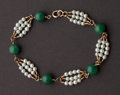 Estate Jewelry:Bracelets, Unusual Jade & Pearl Bracelet. ...