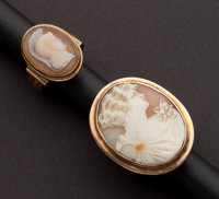 Two Shell Framed Cameo Gold Rings