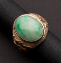 Estate Jewelry:Rings, Serpent Jade & Gold Gents Ring. ...