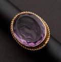 Estate Jewelry:Rings, Unusual Carved Intaglio Amethyst Gold Ring. ...