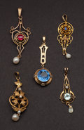 Estate Jewelry:Pendants and Lockets, Five Antique Gold & Gem Stone Pendants. ... (Total: 5 Items)