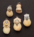 Estate Jewelry:Other , Five Gold Cap Elk's Tooth Fobs. ... (Total: 5 Items)