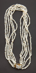 Estate Jewelry:Pearls, Estate Freshwater Pearl & Gold Necklace. ...