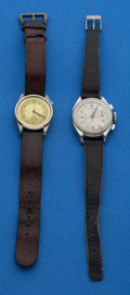 Timepieces:Wristwatch, Two Wristwatches - Gallet Oval Back Steel Running Chronograph &Harman Single Button For Parts Or Restoration. ... (Total: 2 Items)
