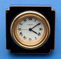 Timepieces:Clocks, Cartier Gold Tone & Black Enamel Manual Wind Alarm Clock With Box. ...